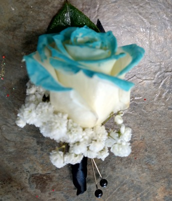 Aqua Tip Rose Boutonniere from Rose Garden Florist in Barnegat, NJ