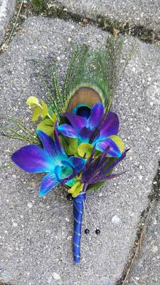 Peacock Blue Orchid Boutonniere from Rose Garden Florist in Barnegat, NJ
