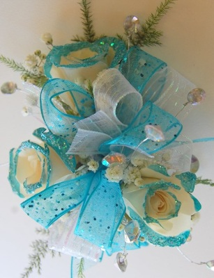 Aqua Glitter Tip Corsage from Rose Garden Florist in Barnegat, NJ