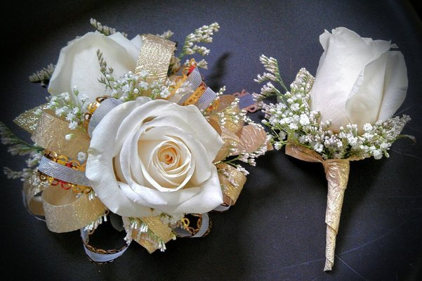 Corsage and Boutonniere Rose Ensemble from Rose Garden Florist in Barnegat, NJ